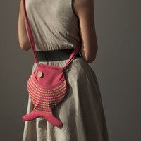 Fish Purse Fish Bag Hot Pink Kawaii Cute Purse Beach by Marewo