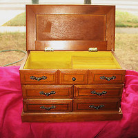 Vintage JEWELRY Musical BOX Dresser Style W 4 Draws and Folding Lid
