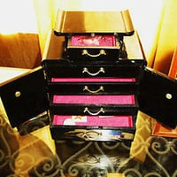 Vintage JEWELRY BOX Pagoda W 2 Doors and 5 Draws Black Lacquer W Golden Accent
