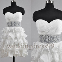 Custom White Beaded New Prom Dresses Simple Evening Gowns Fashion Party Dress Bridesmaid Dresses 2014 Cocktail Dress Fashion Ball Gowns