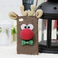 CrazyPomelo Christmas Deer Handmade Plush Case For iPhone 4/4s