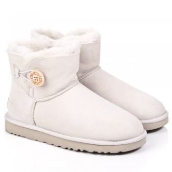 UGG® White Mini Bailey Button Women's Boot
