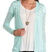 STUDDED OPEN-FRONT CARDIGAN