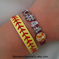 Personalized Jersey Number Bling Sports Bracelet with Heart and Rhinestone Sports Charm and Leather Softball Bracelet Set