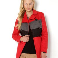 Yoki Colorblock Button-Up Coat Jacket - Winter Outerwear  Shop - Modnique.com