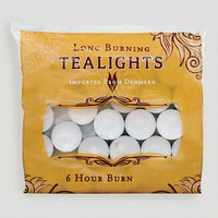 White Long-Burning Tealight Candles, Bag of 50 - World Market