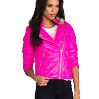 Juicy Couture Diamond Quilt Moto Puffer Jacket w/ Faux Fur in Beauty