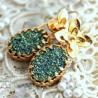 Green emerald Druzy Gold hook earrings,gift for her- 14k Gold filled Crown Lace setting gemstone jewelry.