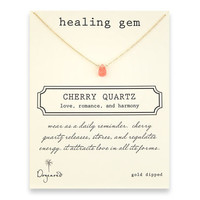 healing gem cherry quartz necklace, gold dipped