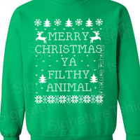 Merry Christmas Ya Filthy Animal- Ugly Christmas Sweater - Red Slouchy Oversized sweater- christmas sweatshirt crew neck - christmas party