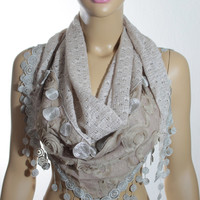 Guipure Edged Beige Knit Fabric Scarf, Shawl, Christmas Gift For Her - ESCHERPE
