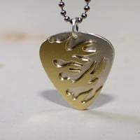 Sterling silver flaming guitar pick pendant handmade with blazing brass
