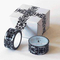 Amazon.com: Packing Tape in Black, White and Blue Damask Pattern: Home &amp; Garden
