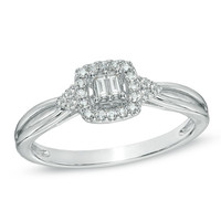 Cherished Promise Collection™ 1/8 CT. T.W. Baguette Diamond Split Shank Promise Ring in 10K White Gold