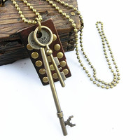 metal chain necklace key pendant men leather long necklace, women metalwork necklace LB-14