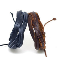 set of 2 bracelet,couple bracelet 2 color leather bracelet women Leather Bracelet Men leather bracelet T101
