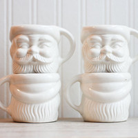 Santa Mugs, White Santa Mugs, Japan, Mid Century Christmas, Holiday Entertaining, White Christmas, Simple, Mustache, Beard, Hostess Gift