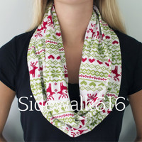 Christmas Sweater Print Knit Infinity Scarf