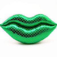 Mermaid Kisses Green Metallic Lips Shaped Pillow Smooch