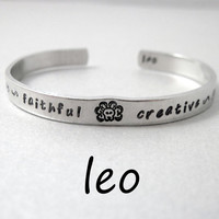 Zodiac Sign Bracelet - LEO - 2-Sided Hand Stamped Aluminum Cuff - Gifts Under 20