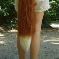2' Red Fox Tail, long fluffy fur