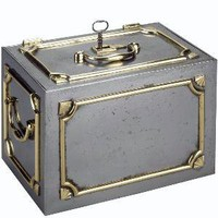 Mallett New York - A STEEL AND BRASS JEWELLERY SAFE - 1stdibs