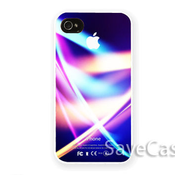 Purple Neon Light Apple - iPhone Case - iPhone 4 iPhone 4s - iphone 5 - Samsung S3 - Samsung S4