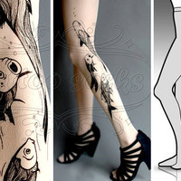 new L/XL sexy Aquarium tattoo tights / stockings /  by tattoosocks