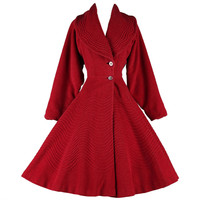 Vintage 1950's Red Wool Fit & Flare Princess Coat | 1stdibs.com