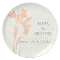Iris flower peach, grey floral wedding keepsake party plate