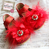 Toddler RED Sparkle Leather Squeaky Mary Jane/Glitter red baby girl shoes.with bow and rhinestone