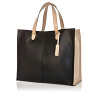 BLACK COLOUR BLOCK LEATHER TOTE BAG