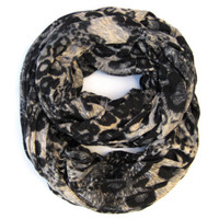 Leopard Fashion Infinity Loop Scarf Warm Leopard Circle Scarf Trendy Soft Cozy Leopard Endless Loop Scarf Winter Womens Teens Scarves