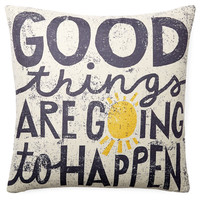 """Good Things"" 20x20 Pillow, White"