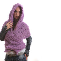 Hooded Scarf, Mohair Shawl, Purple Violet Extra Long Winter Scarf with Hood by Solandia, Hand Knit Scarf, Women Fashion, Christmas Gift