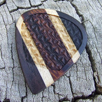 Handmade Premium Wood Guitar Pick - Laser Engraved Gun-stock Grip - Ebony, Maple, & Ironwood