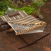 Algoma 11 ft. Cotton Rope Hammock with Metal Stand, Pillow and Pad | www.hayneedle.com