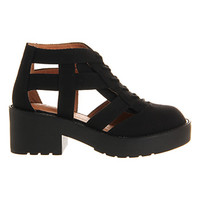 Jeffrey Campbell Thomb Cut Out Ankle Boot Black Canvas - Ankle Boots