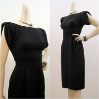 60s Dress Vintage Black Crepe Wiggle Cocktail Gathered Sleeves LBD S