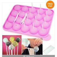 Autek 20 Silicone Tray Pop Cake Stick Mould Lollipop Cupcake Baking Mold Tool