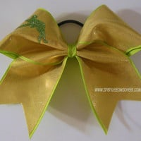 Tinkerbell Inspired Large Cheer Bow Hair Bow Cheerleading