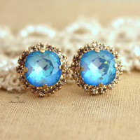 Blue sky Aquamarine Rhinestone stud earrings,Bridal jewelry,gift for woman - 14k very Thick plated gold earrings real swarovski rhinestones.