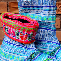 Cuffed Womens Ankle Boots Bright Funky Blue Mixed Hmong Embroidery