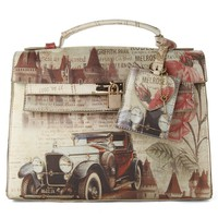 Retro Painting Top Handle Crossbody Bag