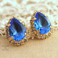 Sapphire Rhinestone Crystal Blue pear teardrop stud earring bridesmaids gifts bridal earrings - 14k plated gold earrings real swarovski