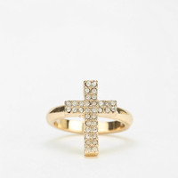 Rhinestone Cross Ring - Urban Outfitters
