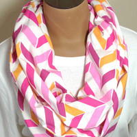 Pink & Orange Chevron Infinity Scarf
