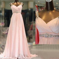 Cheap prom dresses, pink prom dresses, long prom dresses, chiffon prom dresses, dresses for prom, prom dresses 2014, evening dresses, RE329