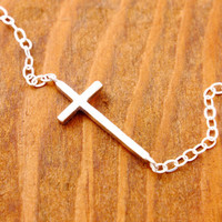 Sideways Cross Necklace - silver cross necklace, baby cross, petite cross, cross necklace, religious necklace