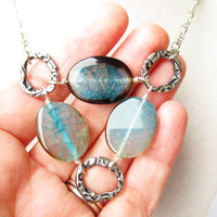 Earthy Blue Agate Slabs Connected Stone & Abstract Rings Boho Bib Statement Necklace